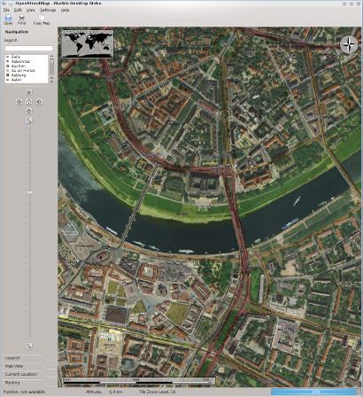 The City of Dresden shown in Marble with multiple layers: Satellite images provided via WMS displayed on top of OpenStreetMap data via Multiply Blending.