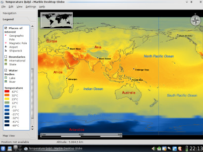 Legend and globe for average surface air temperature in December