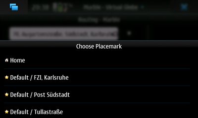 Bookmarks as Route Targets on the Nokia N900