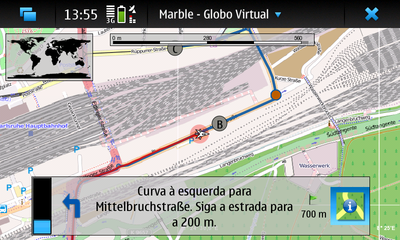 Route Guidance Mode on the Nokia N900