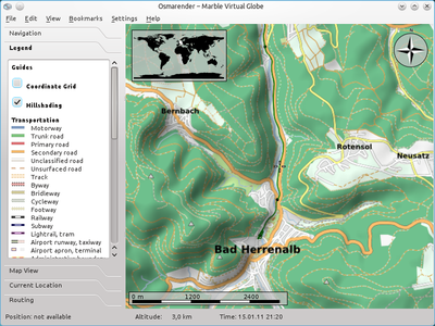 The Osmarender Map Theme with Hillshading