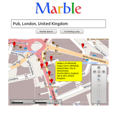 A sample Marble QML application mimicking a popular search engine