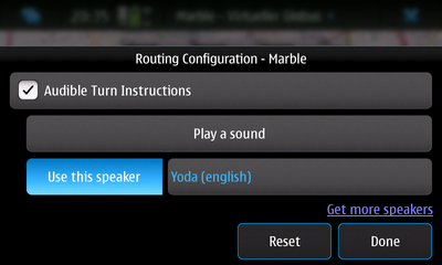 Voice navigation configuration on the Nokia N900
